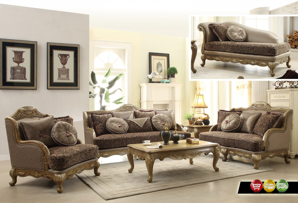 traditional victorian formal living room sofa love seat set exposed