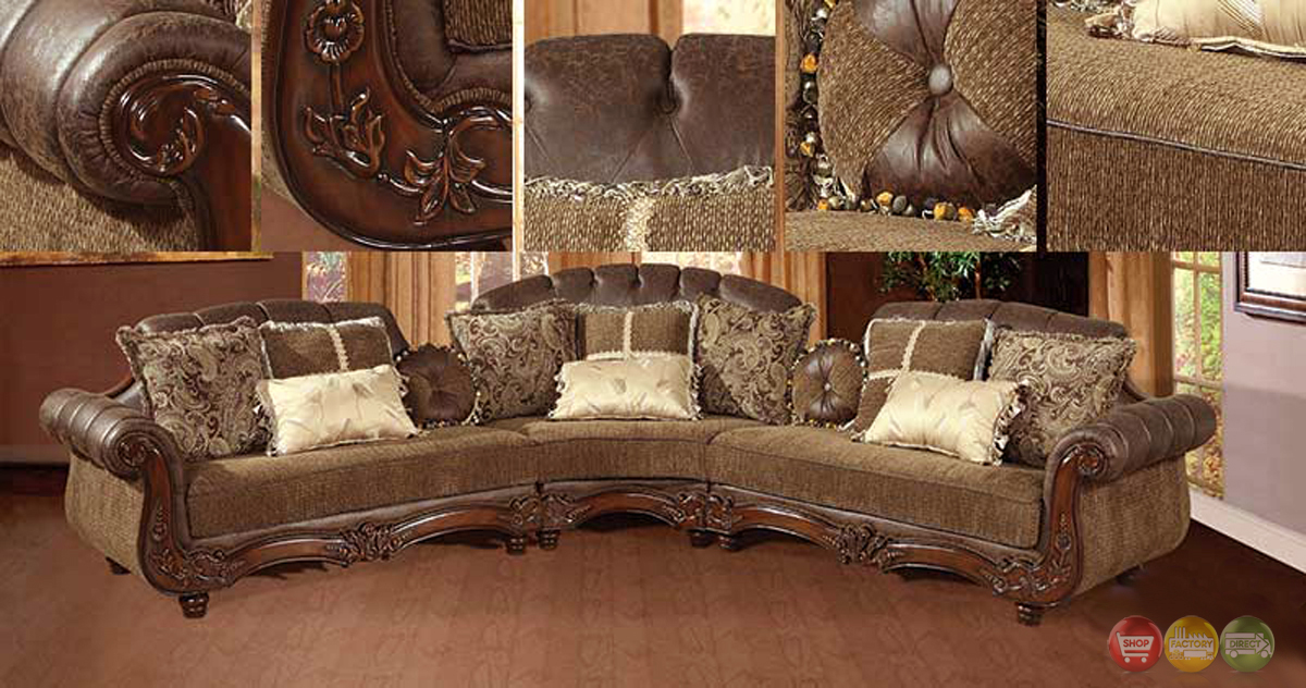 Traditional Victorian Styled Sectional Sofa Exposed Wood