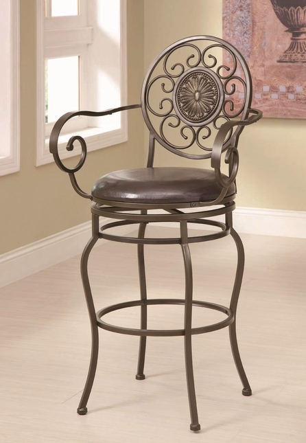Transitional Floral Pattern Faux Leather Bar Stool