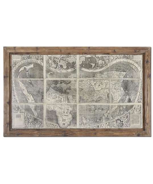 Treasure Map Reclaimed Wood Framed Art 34025