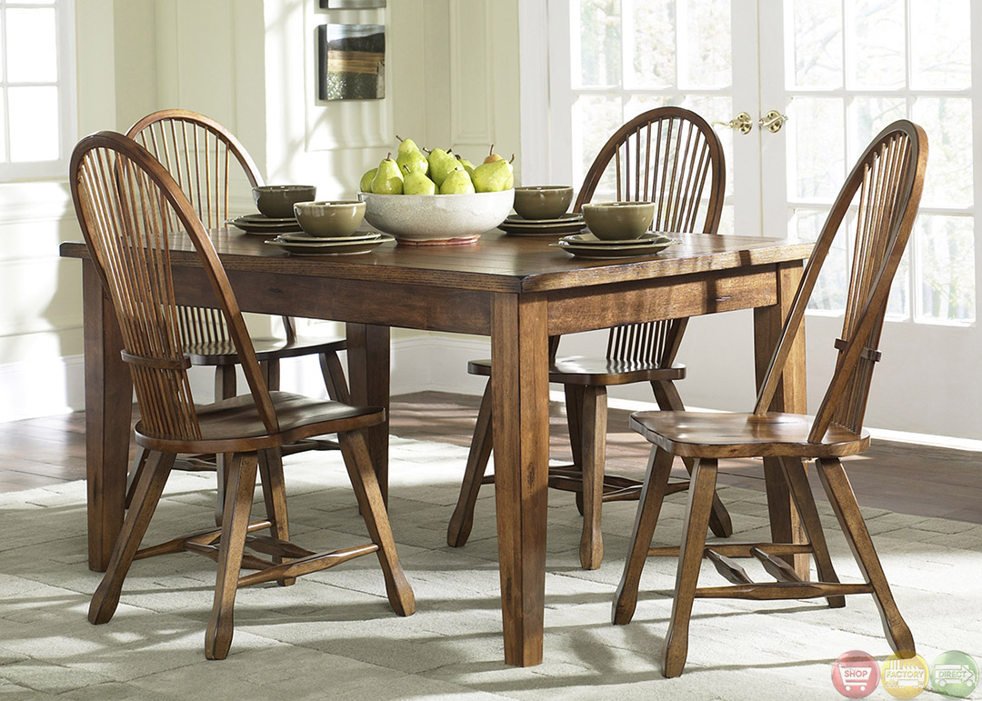 Treasures Rustic Oak Finish Casual Dining Furniture Set