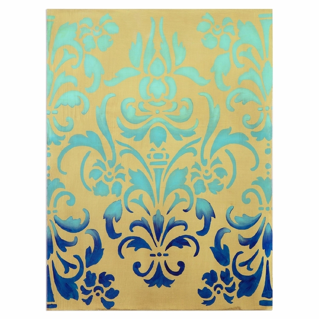 "Trendy Damask Blue Ombre Stencil Accent Wall Art In Stretched Canvas, 36""x48"""
