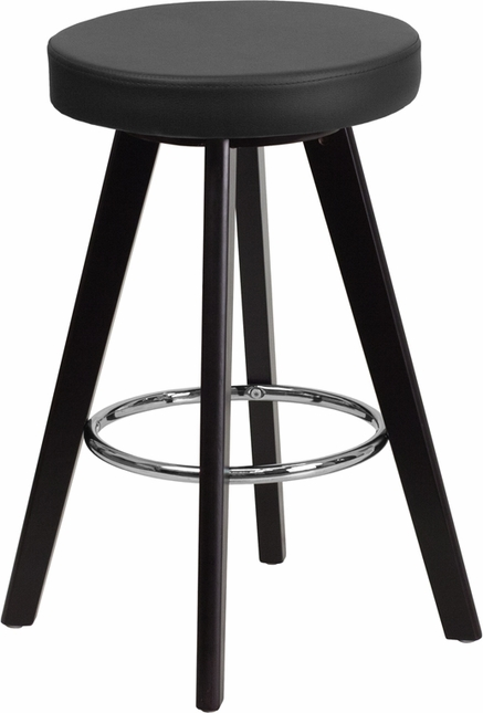 Trenton Contemporary Black Vinyl Counter Height Stool W/ Cappuccino Wood Frame