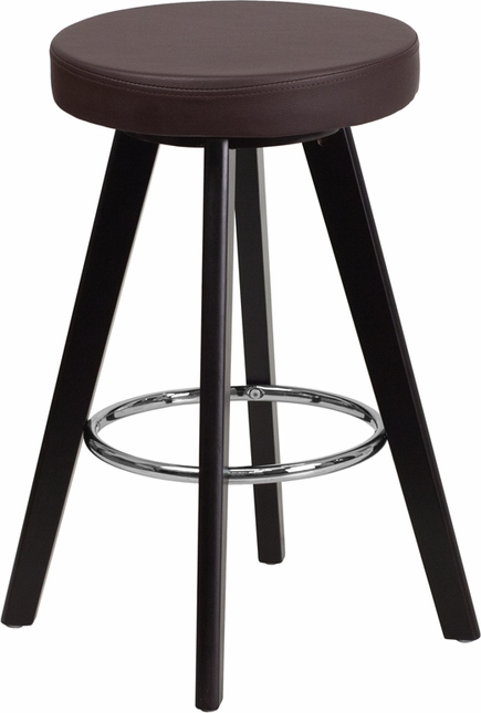 Trenton Contemporary Brown Vinyl Counter Height Stool W/ Cappuccino Wood Frame