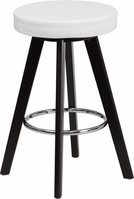Trenton Contemporary White Vinyl Counter Height Stool W/ Cappuccino Wood Frame