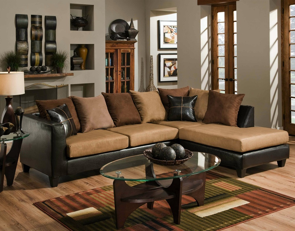Chocolate Brown Sectional Sofa Loose Pillow Back 4185