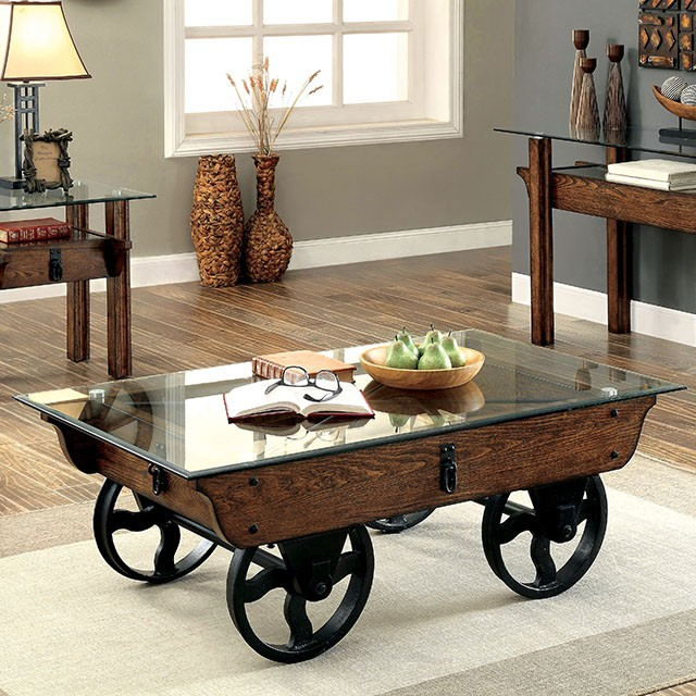 Rustic Wood And Mirror Coffee Table: Tristin Rustic Glass Top Wooden Coffee Table With Black