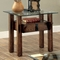Tristin Rustic Glass Top Wooden End Table with Black Metal Accents