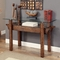 Tristin Rustic Glass Top Wooden Sofa Table with Black Metal Accents