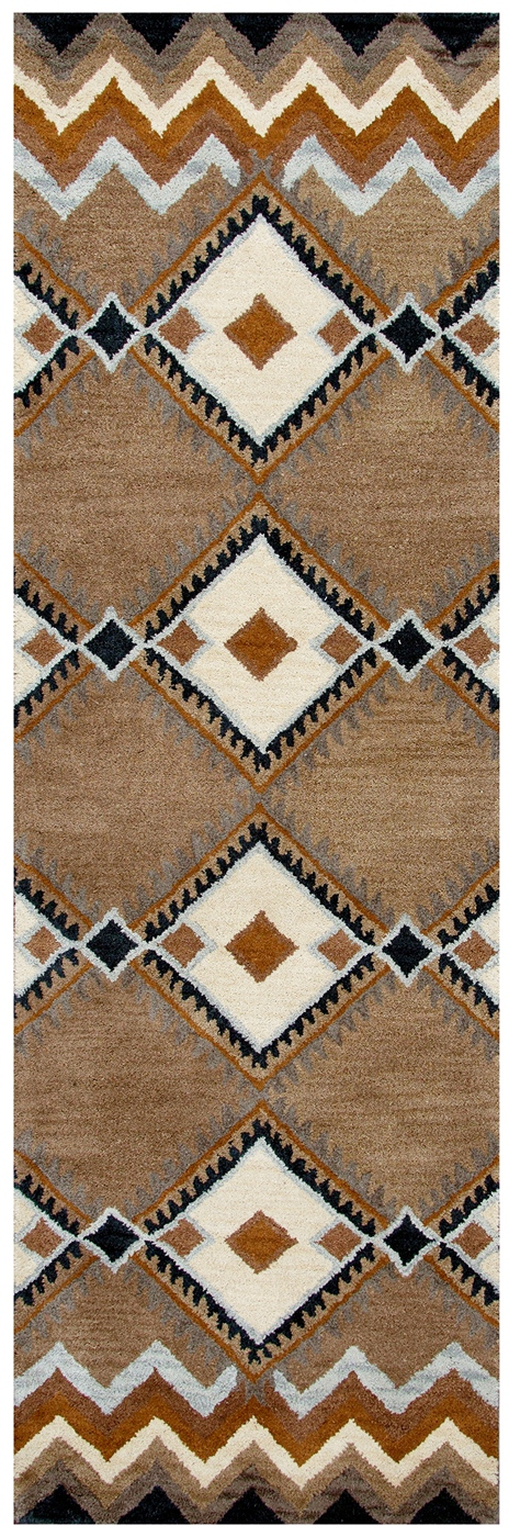 Tumble Weed Loft Indian Print Wool Runner Rug In Blue