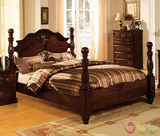 tuscan ii traditional glossy dark pine poster bedroom set with antique