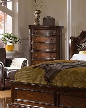 Tuscan Traditional 6-Drawer Chest With Rich Dark Brown Finish