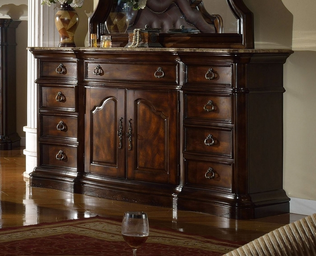 Tuscan Traditional Marbled Topped 9-Drawer Dark Brown Dresser