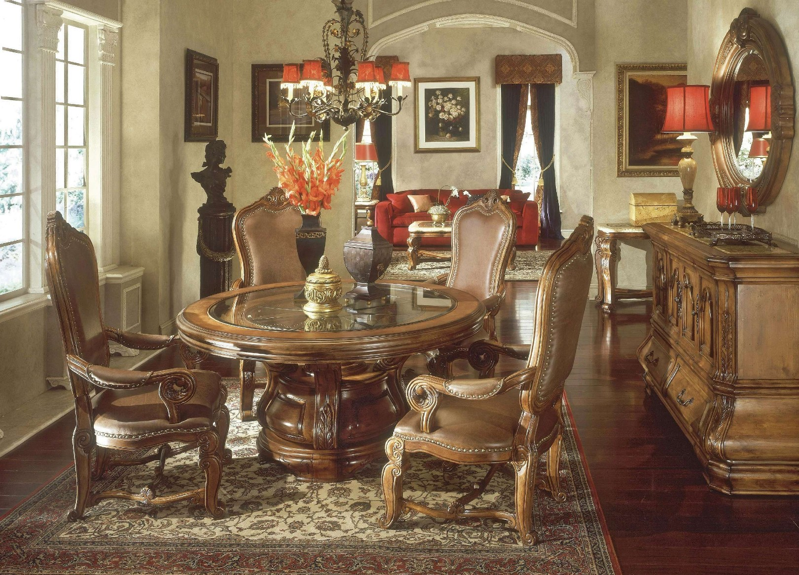 Michael Amini Tuscano Biscotti Finish Round Dining Table