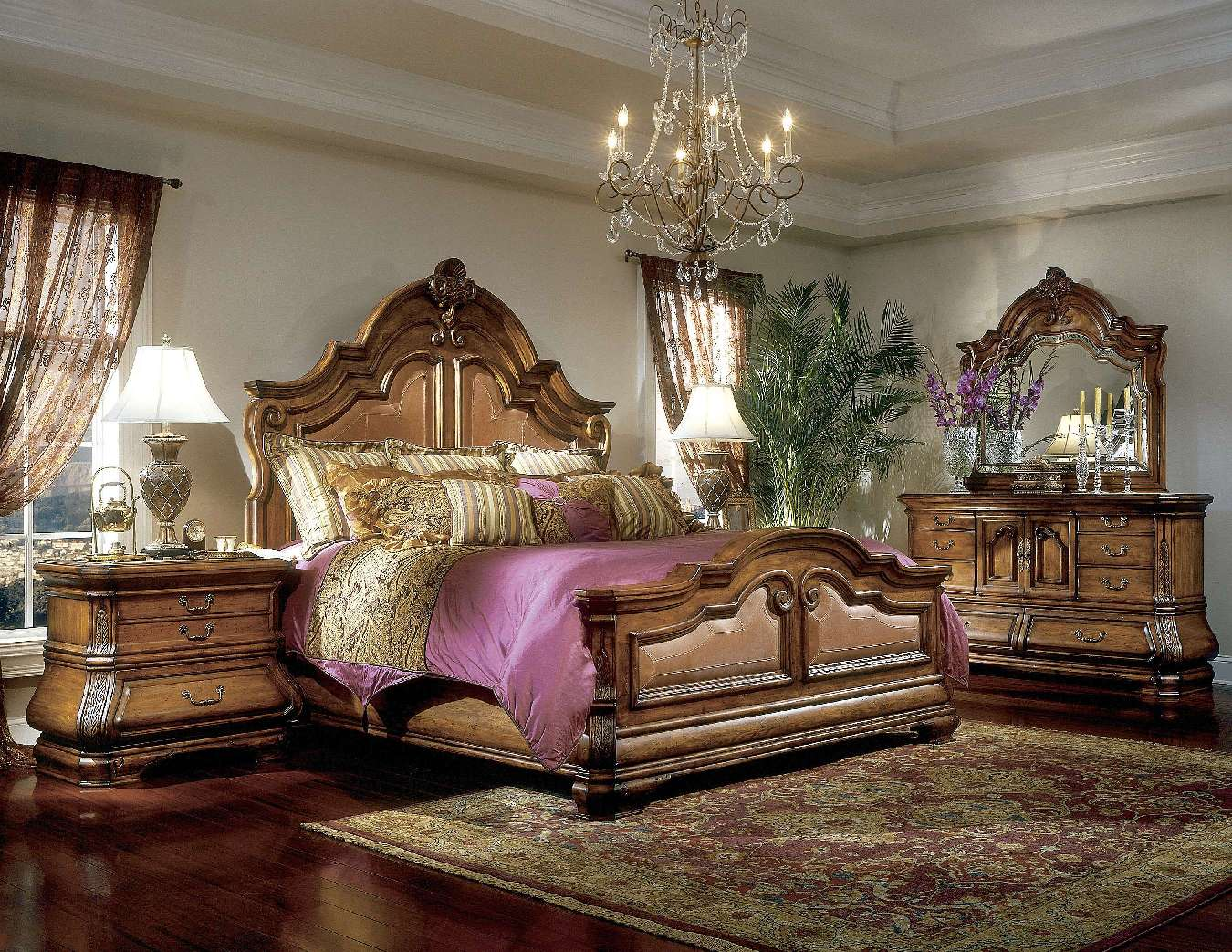 Michael Amini Tuscano Luxury Bedroom Set Biscotti Finish By AICO