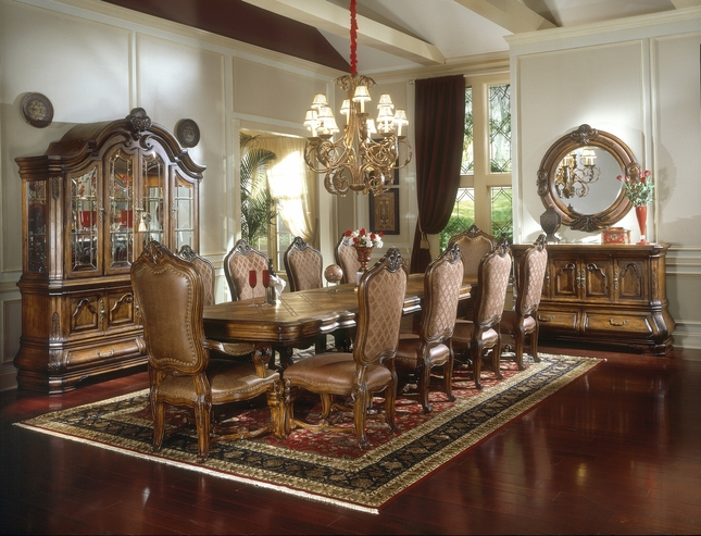 """Michael Amini Tuscano 148"""" Long Formal Dining Table Biscotti Finish by AICO"""