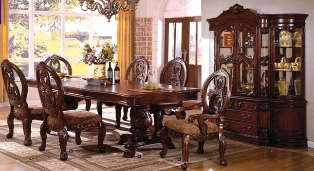 Tuscany Antique Cherry Formal Dining Set Double Pedestals