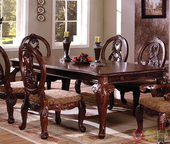 Tuscany I Elegant Antique Cherry Formal Dining Set With