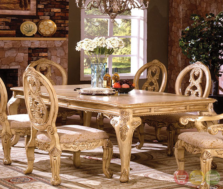Orleans Ii White Wash Traditional Formal Dining Room: Tuscany Plush Upholstered Dining Room Set With 16 Inch Leaf