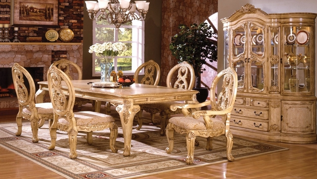 Tuscany Antique White Traditional Formal Dining Room Furniture Set Leg Table
