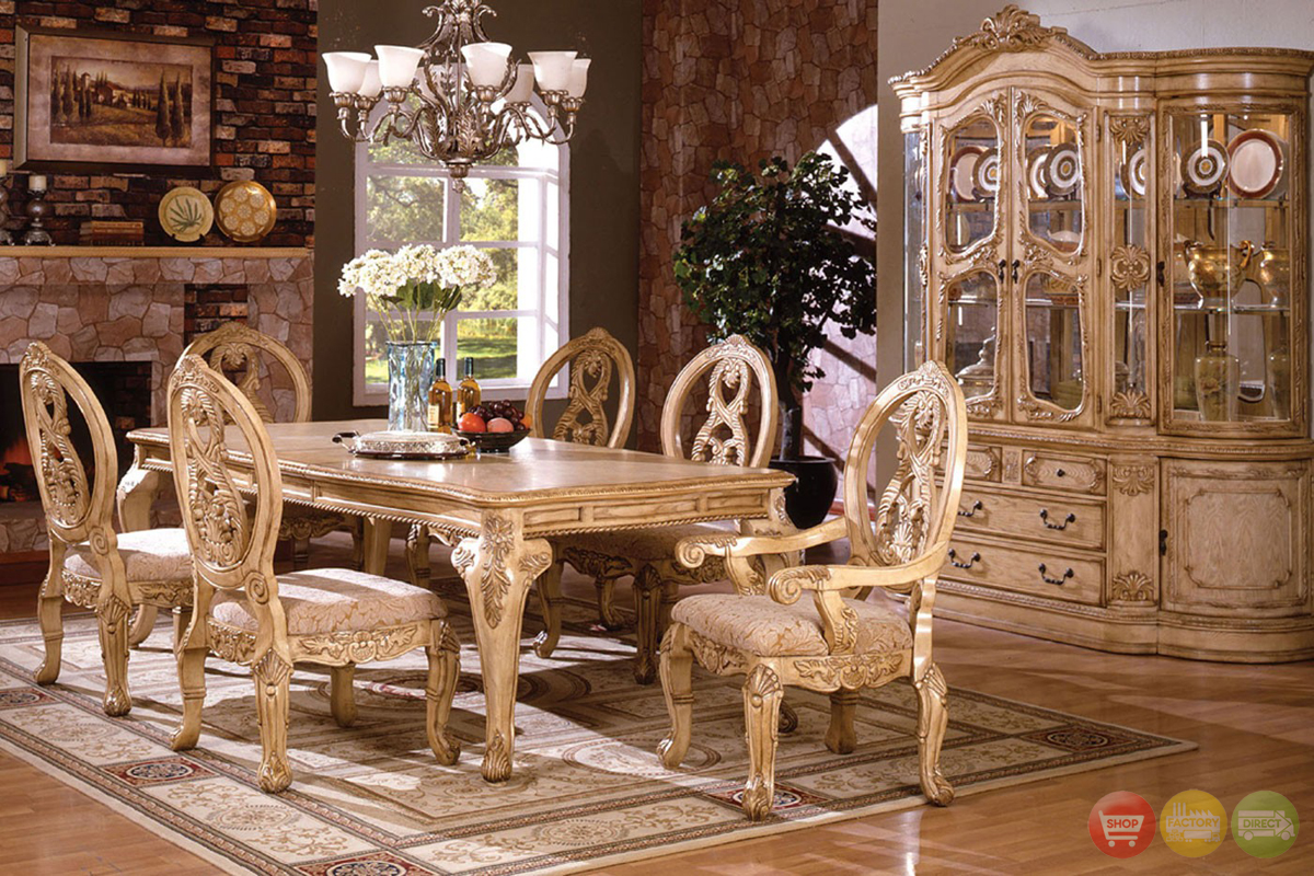 Tuscany Plush Upholstered Dining Room Set With 16 Inch Leaf