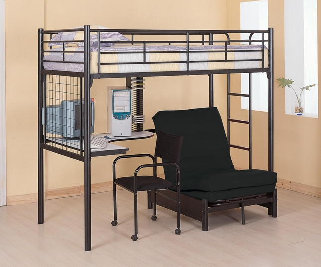 Twin Loft Bunk Bed Workstation w/Futon Chair and Mattress Coaster 2209