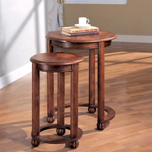 Two Piece Cherry Finish Round Nesting Side Table Set