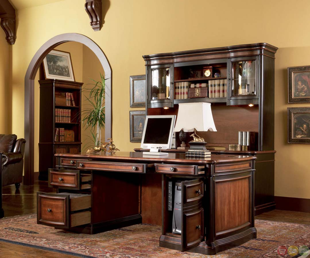 Hom Office Furniture: Two Tone Wood Executive Home Office Desk With 5 Drawers
