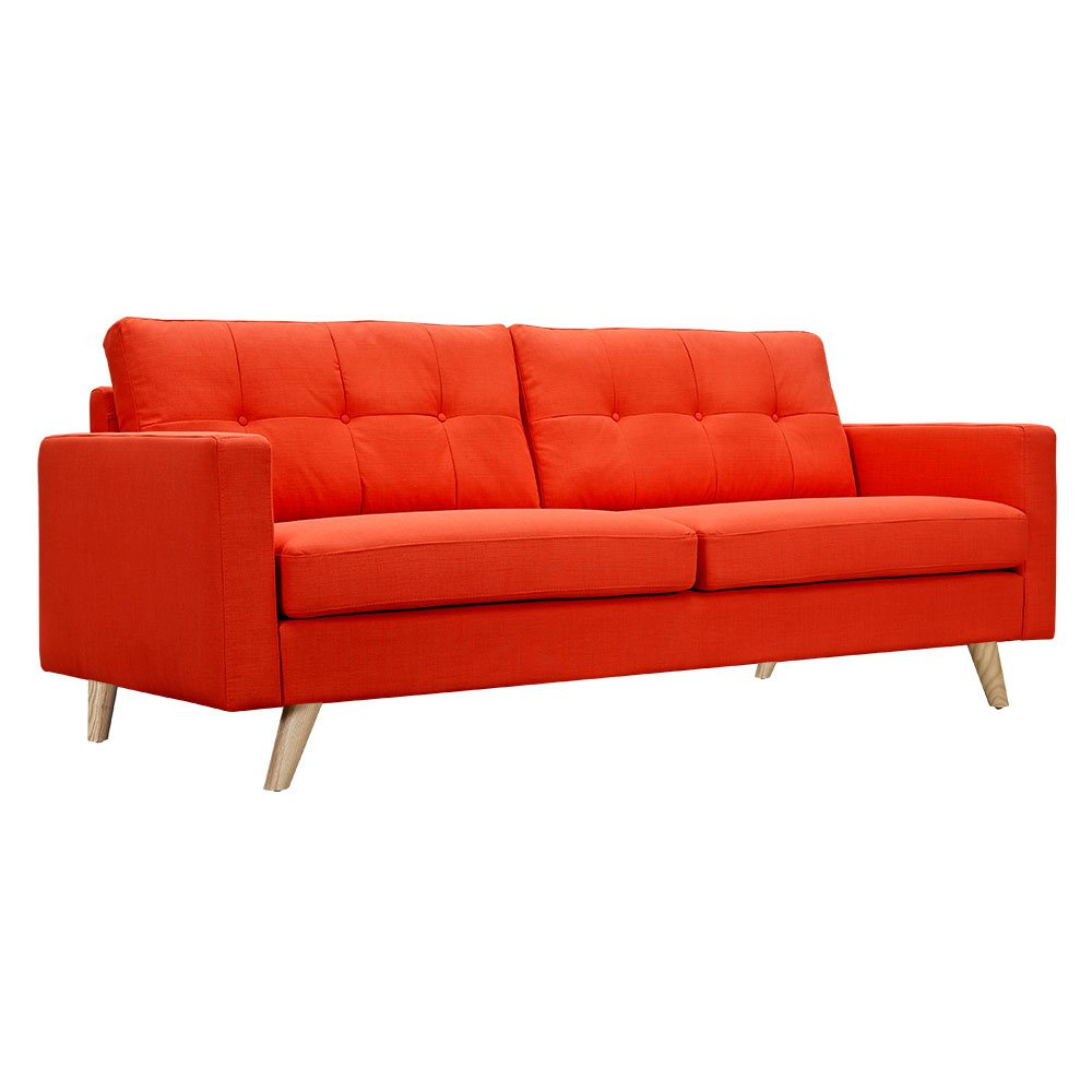 Uma Mid Century Modern Orange Fabric Button Tufted Sofa W