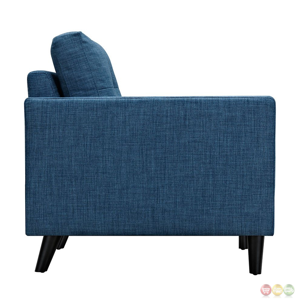 Uma Modern Blue Fabric Button Tufted Armchair w/ Black Finish