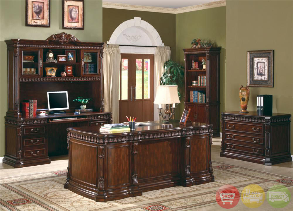 Union Hill Double Pedestal Executive Desk with Leather ...