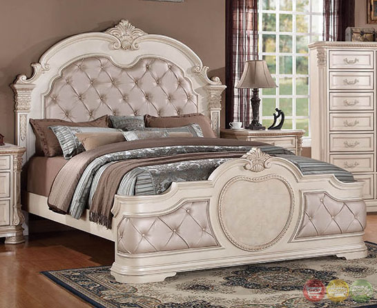 Unity Antique Traditional Distressed Antique White Upholstered Bedroom Set Wi