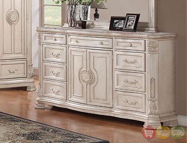 distressed antique white upholstered bedroom set with stone tops