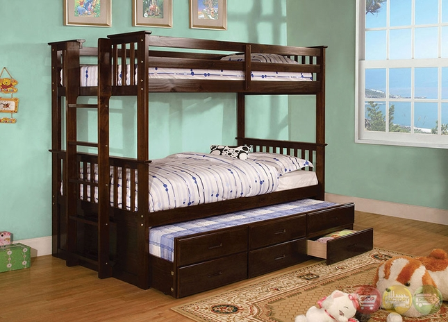 University Dark Walnut Bunk Bed with Side Access Ladder