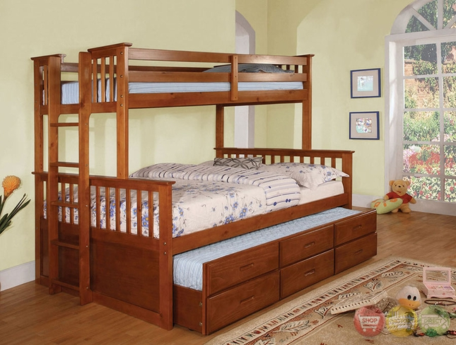 University Oak Bunk Bed with Side Access Ladder
