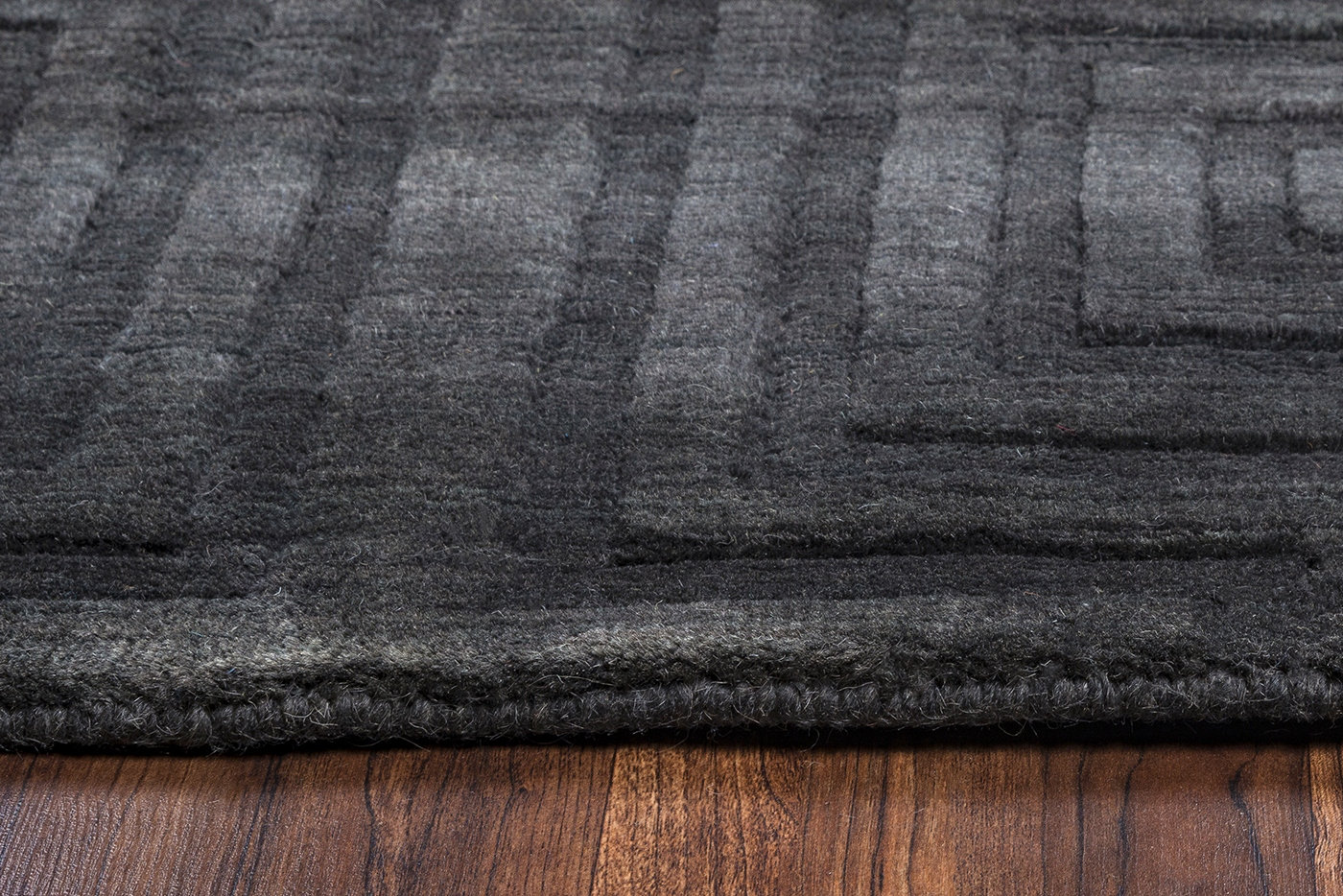 Uptown Faded Concentric Squares Wool Area Rug In Charcoal