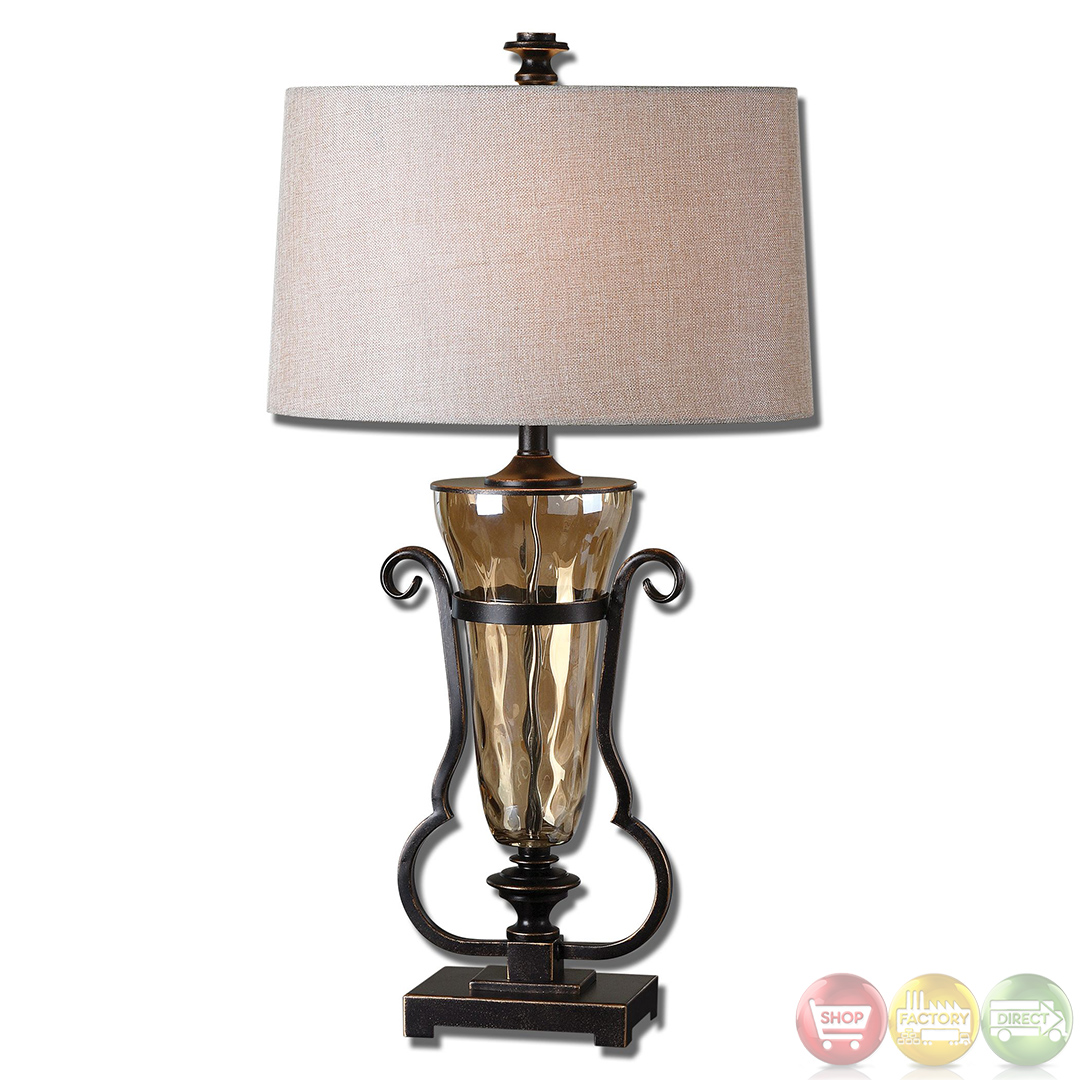 aemiliana light amber glass oil rubbed bronze table lamp 26594. Black Bedroom Furniture Sets. Home Design Ideas