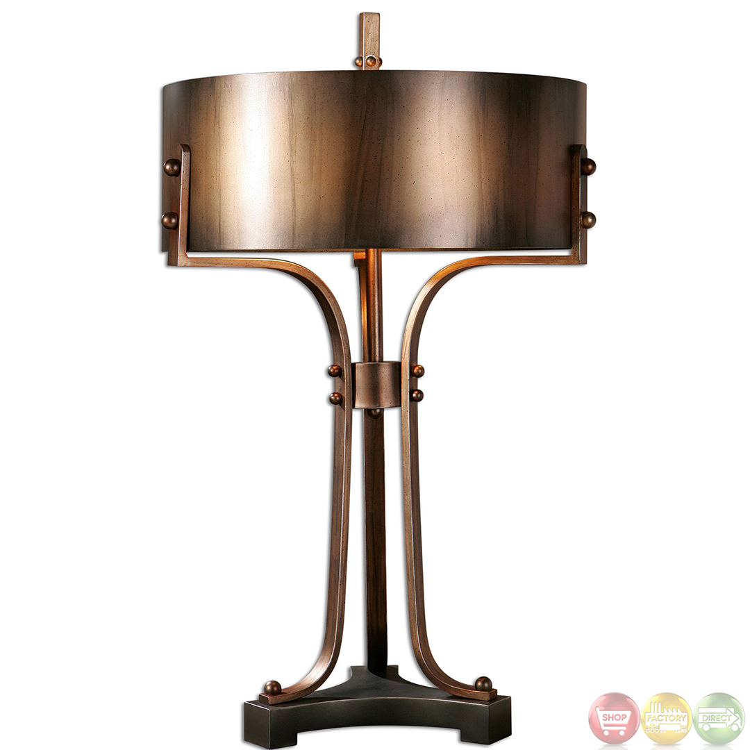 Akron Copper Finished Hand Forged Metal Table Lamp 27697 1