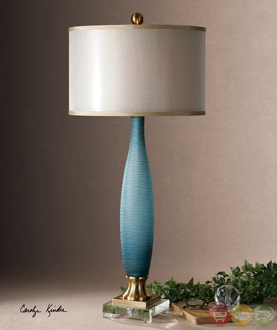 alaia frosted cobalt blue glass table lamp 26582 1. Black Bedroom Furniture Sets. Home Design Ideas