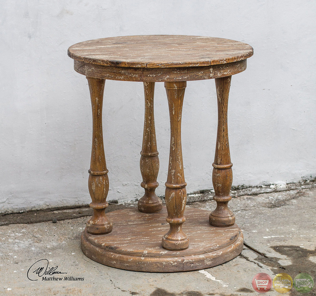 Bardeau Country Rustic Weathered Wooden Accent Table 25628