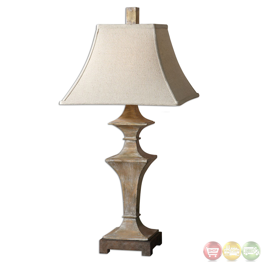 cagliari gray white wash wooden base table lamp 26526. Black Bedroom Furniture Sets. Home Design Ideas