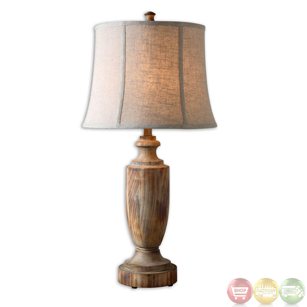 Calvino Light Ash Gray Bleached Solid Wood Table Lamp 27687