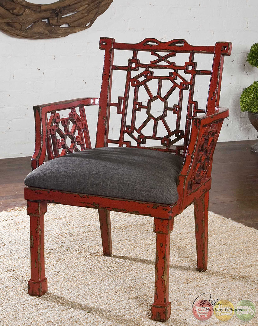 Camdon Antique Red Wood Frame Rustic Armchair 23604