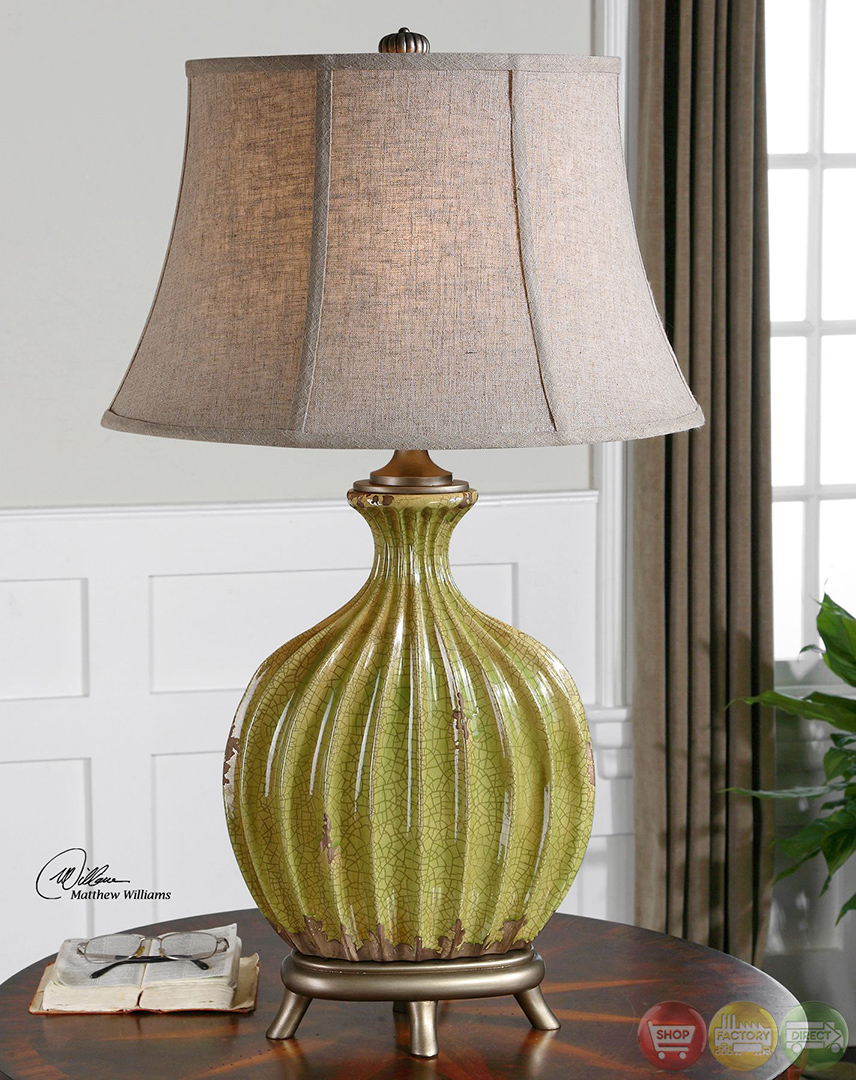 Carentino Crackle Aged Green Ceramic Table Lamp 27454