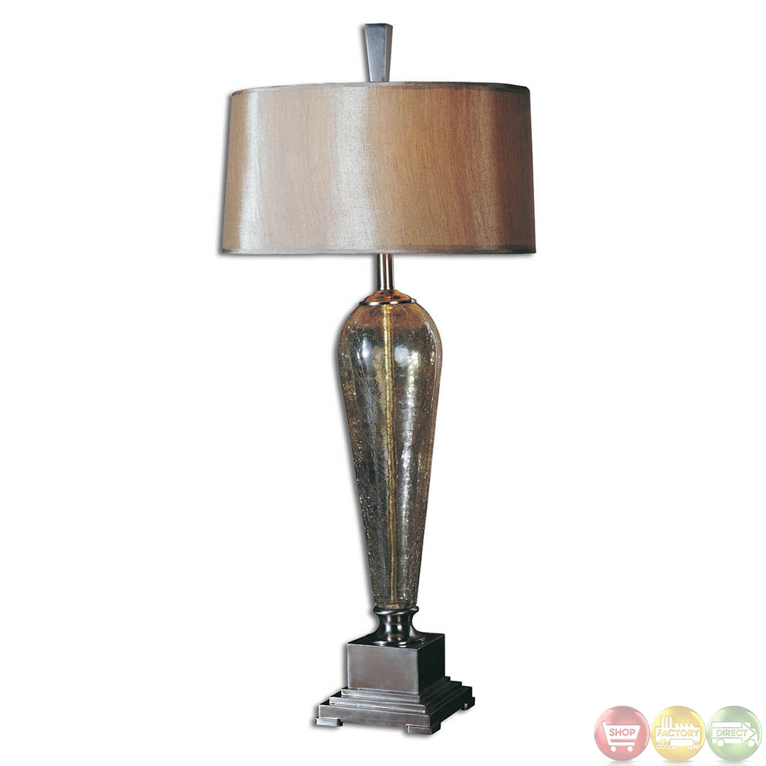 celine crackle glass brushed nickel accents table lamp 26652. Black Bedroom Furniture Sets. Home Design Ideas