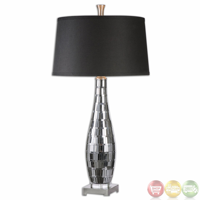 Cosmas Plated Gun Metal Mosaic Tiled Table Lamp 26150