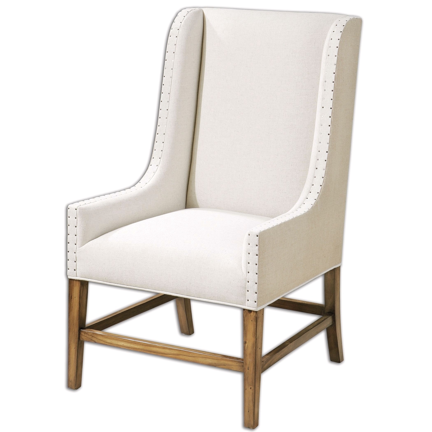 Dalma Neutral Linen Upholstery Wood Frame Wing Back Chair 23189. Full resolution‎  photograph, nominally Width 1400 Height 1400 pixels, photograph with #8C6A3F.