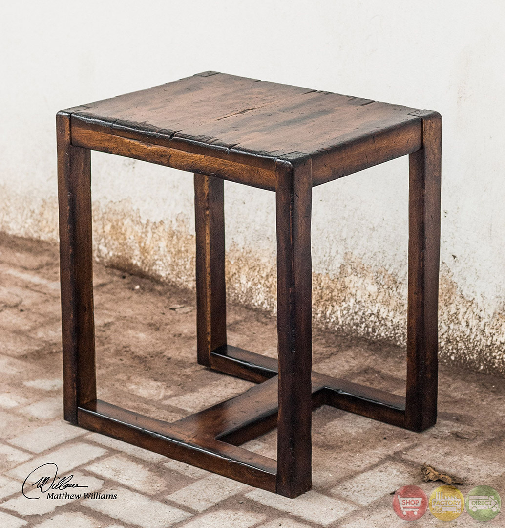 Deni Heavily Distressed Solid Wood End Table 25604