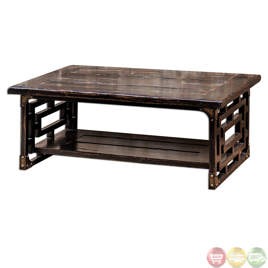 Deron Antique Finish Solid Wood Coffee Table 25600