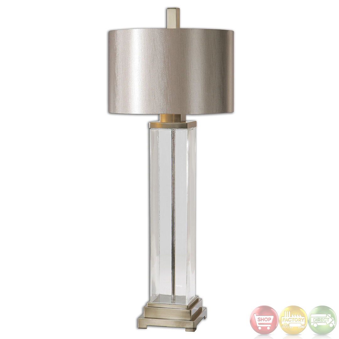 drustan clear glass base champagne shade table lamp 26160 1. Black Bedroom Furniture Sets. Home Design Ideas